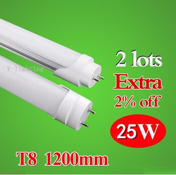 10pcs/lot AC85-260V 25W 120led/pc 1200MM T8 LED Tube Light fluorescent bulb 2800LM warm white/white/cold white(China (Mainland))
