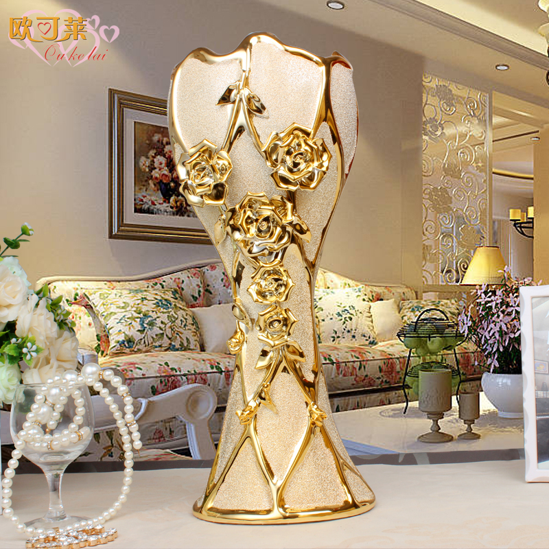 European Style Ceramic Vase Home Decorations Ornaments Plating Floor Living Room Tv Cabinet