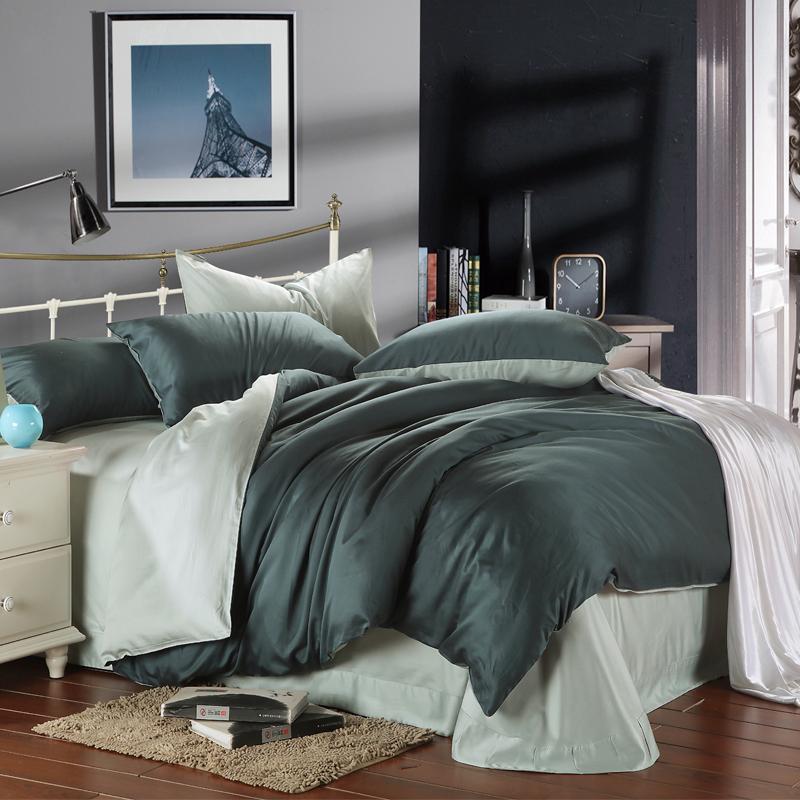 Dark green with green beans 100 silk bedding sets 4pcs - Dark green comforter sets ...
