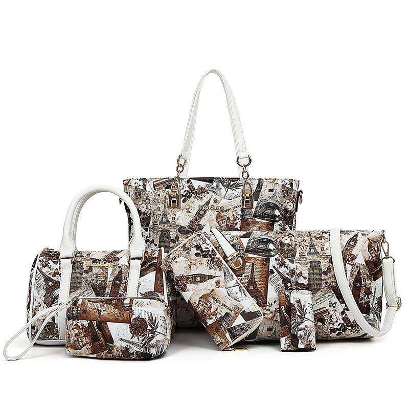 2016 composite bag ladies 6 sets of high-grade pu leather handbag women messenger bagsCartoon logo wallet free shipping(China (Mainland))