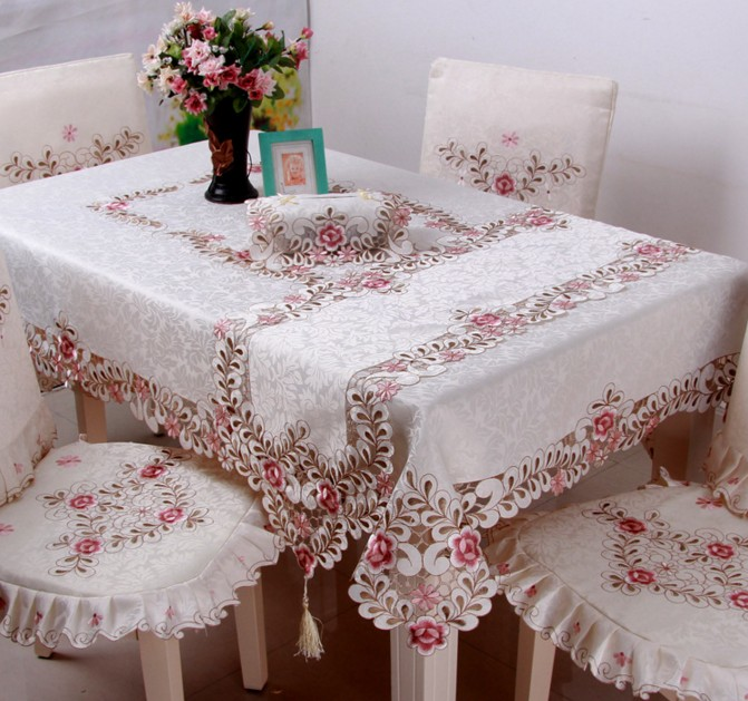 2016 New High Quality Polyester pink beige Embroidery Tablecloth Embroidered Floral Table Cloth Covers Runners Lace Edge B30(China (Mainland))