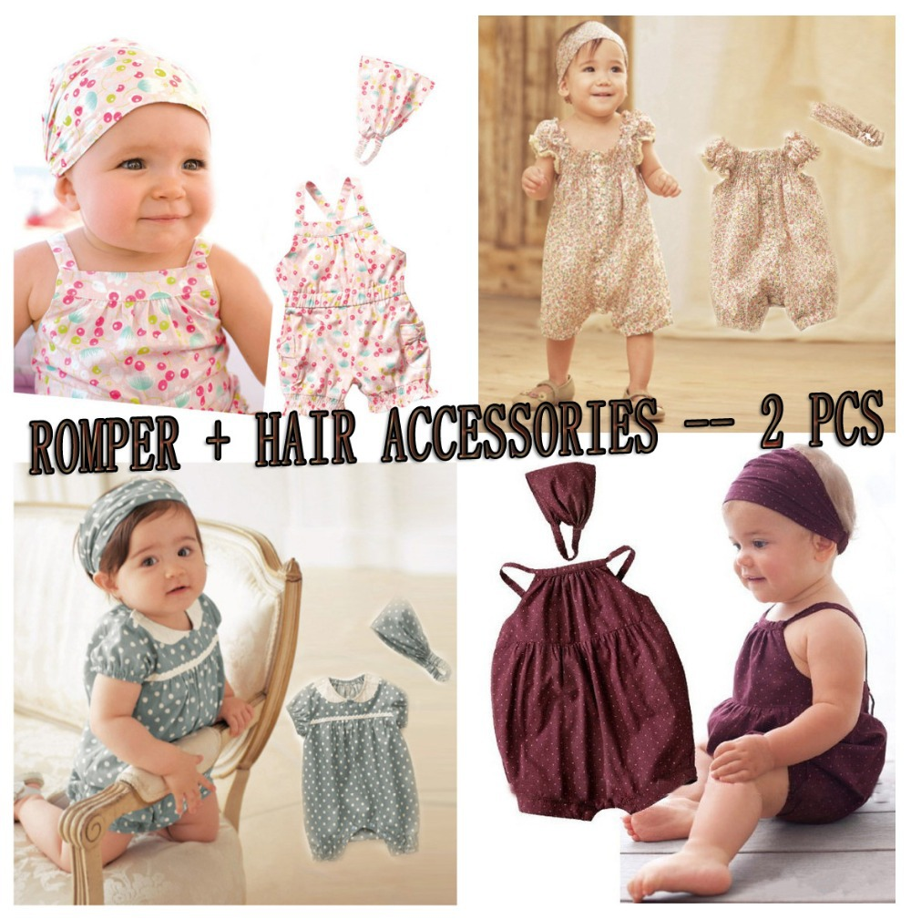 Baby Girls 2 pcs set:romper+hair accessories,New Arrival Fashion Baby Clothes(China (Mainland))