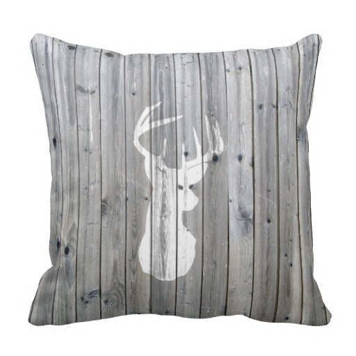 Worse Hipster Vintage White Deer Head On Gray Wood Pillow Case (Size: 45x45cm) Free Shipping