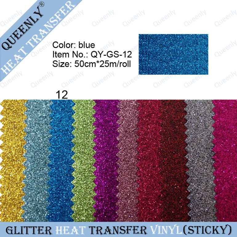 Sticky back blue glitter heat transfer vinyl heat press vinyl suppliers 50cm*25m/roll(China (Mainland))