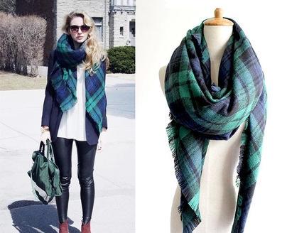 Бесплатная доставка новинка марка зима зеленый проверено плед тартан шали обруча пашмины шарфы для рождественский подарок