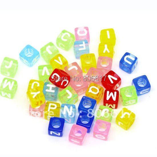 Best Quality  500 Pcs Random Mixed Alphabet  Letter Acrylic Cube Beads Jewelry Making (Hole Size 3.5mm) 6x6mm(W00839)