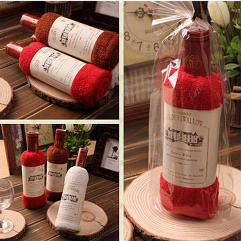 Gift towel creative Red wine bottle shape towel gift opp bags present box single wine bottle 100% cotton towel cake gift(China (Mainland))