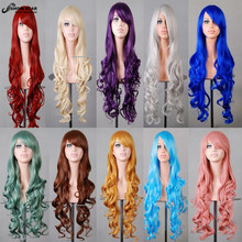 80CM Long Curly Wave Harajuku Cosplay Wig Anime Blonde Purple Pink White Synthetic Hair For Black Women Party Wig Peruca Pelucas(China (Mainland))