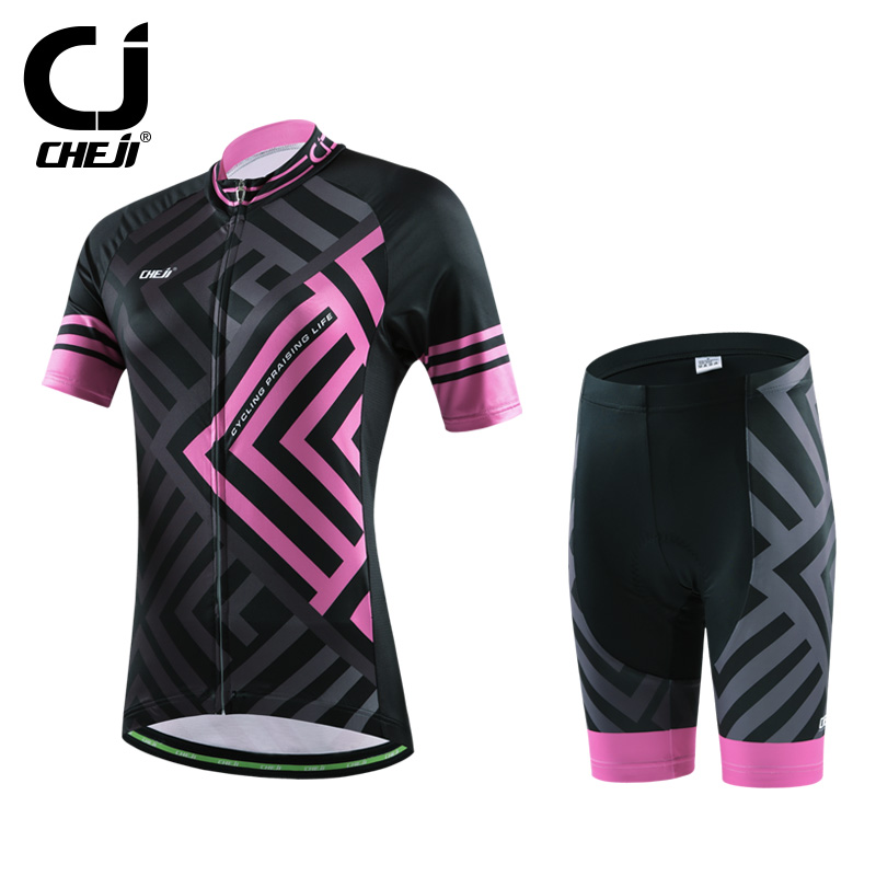 2016 CHEJI Women Bike Jerseys Shorts Sets Pro Cycling clothing Suits Maze black powder Team bicycle Shirts mtb Top bottom