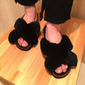 2017 New Arrival Women s Winter Shoes Genuine Leather Rex Rabbit Real Home Slippers Platform Fur