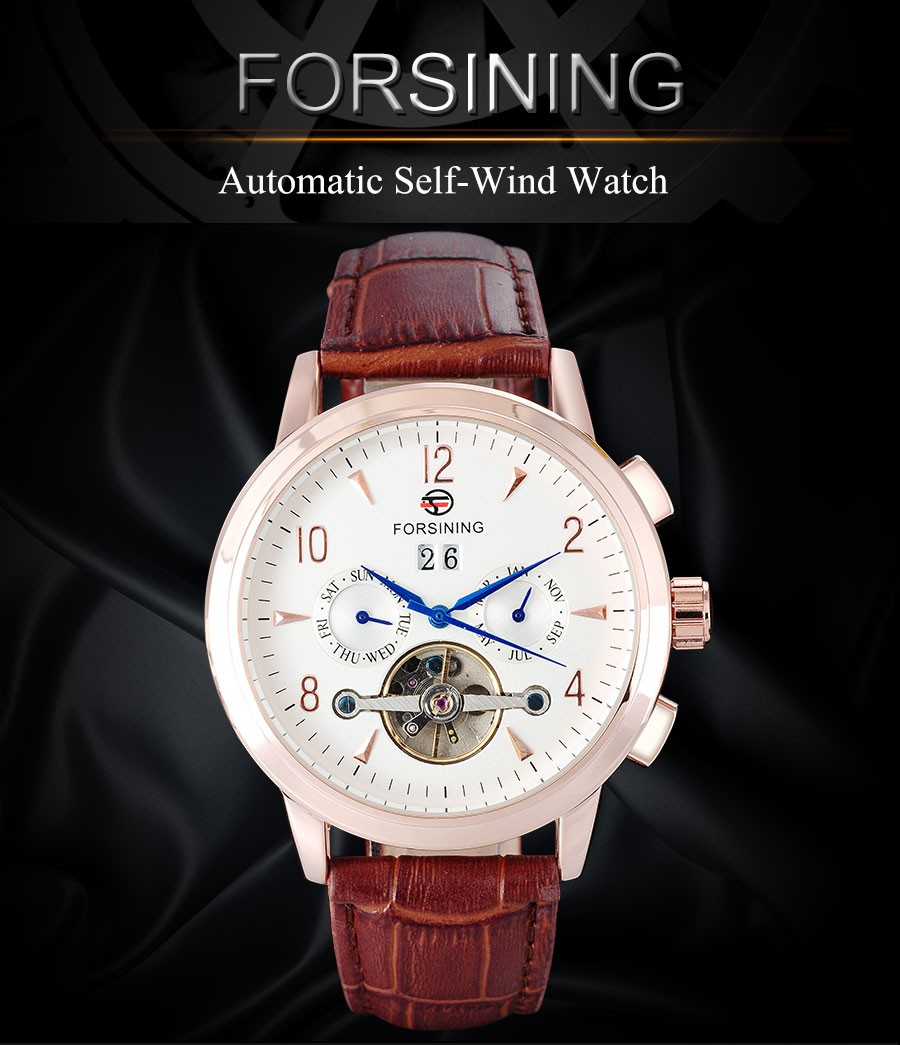 FORSINING марка моды для мужчин механические часы Tourbillon роскошные мужчины автоматическая скелет розовое золото часы relógio masculino