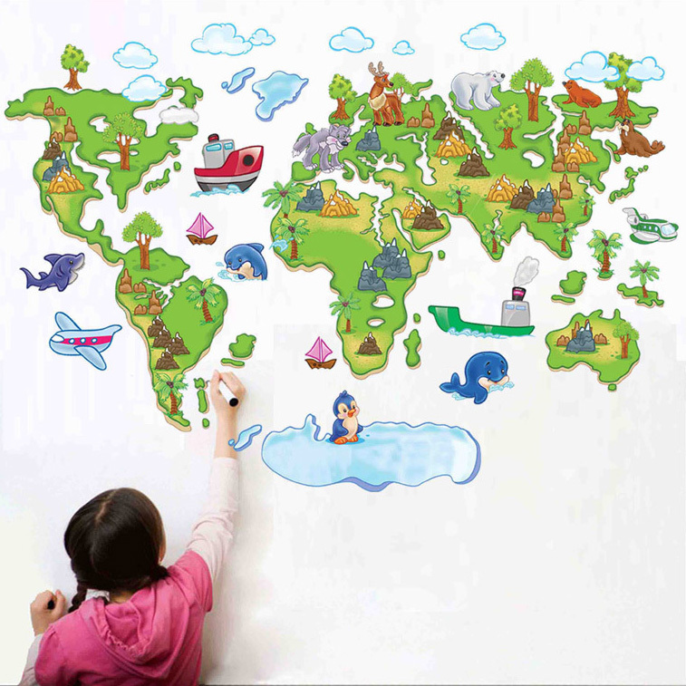 Large Map of the World Outline Removable DIY Vinyl Decals Home Decoration Art Mural for Kids Bedroom PVC Wall Stickers(China (Mainland))