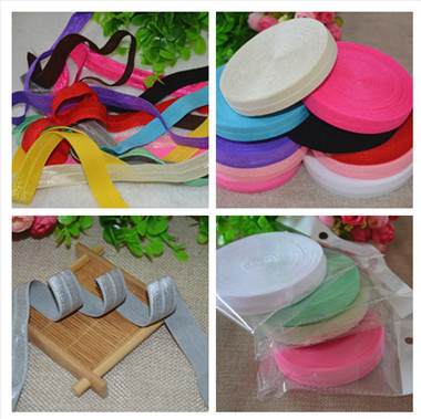 Solid Color Fold Over Elastic Ribbon 10 yards free shipping hairbow accessory headbands materials(China (Mainland))