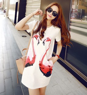 summer new fashion women dress Korea is cotton and linen give prize swan design show thin dress for girils free shipping(China (Mainland))
