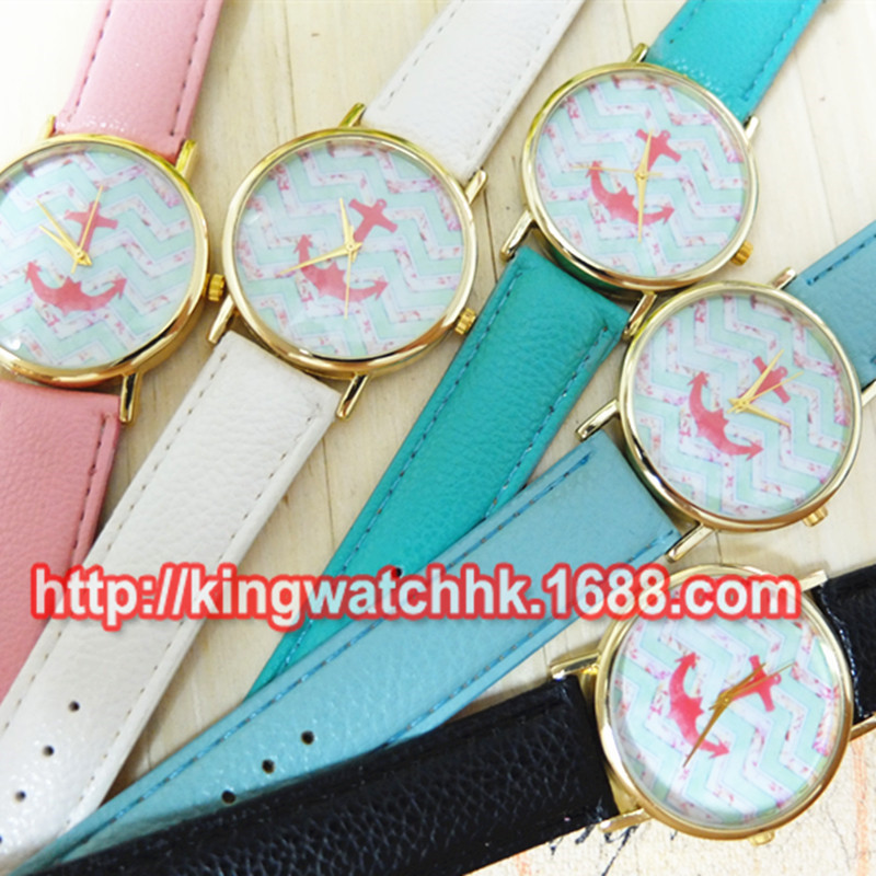 5 Colors New Arrival Fashion Leather strap Anchor GENEVA Watches Women Dress Watches<br><br>Aliexpress