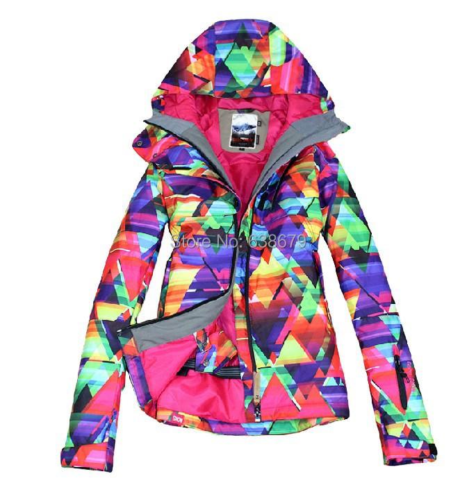 2014 hot womens geometric figure ski jacket ladies snowboarding jacket skiing jacket snow parka skiwear anorak waterproof 10K(China (Mainland))