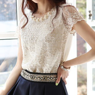 Women's short sleeve lace shirt collar render han edition hollow chiffon jacket unlined upper garment new - Top Boutique Fashion Mall store