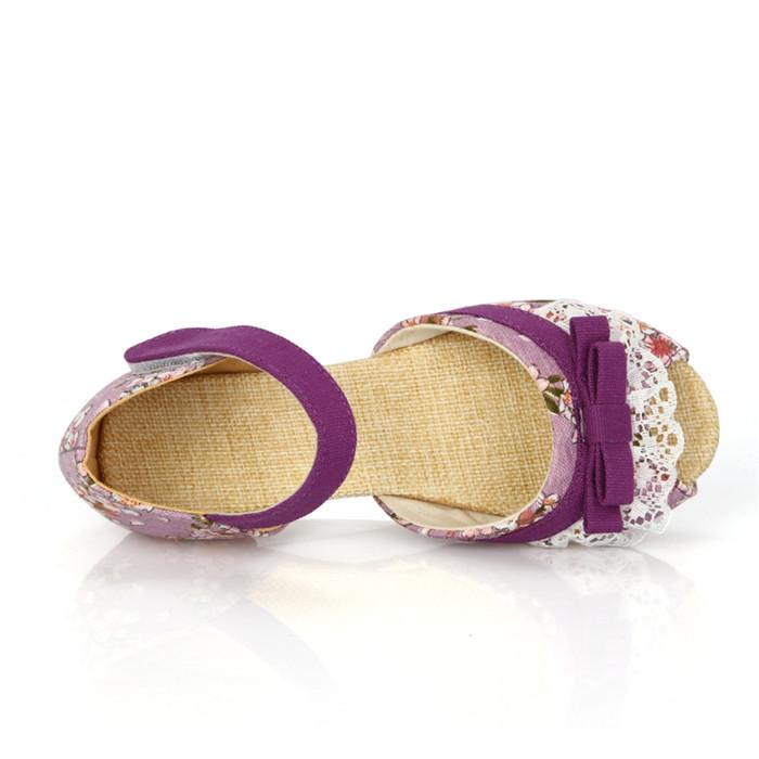 В стиле кантри малыша девушки сандалии цветочные кружева девушки квартиры обувь девочки ткани обувь