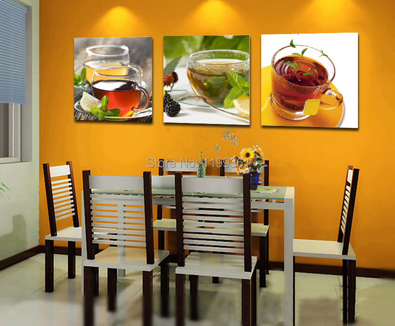 3 Panel Modern Home Decoration Wall Art Realistic Tea Kitchen Oil Painting Pictures Frameless Canvas Prints - Idea Furnishing store