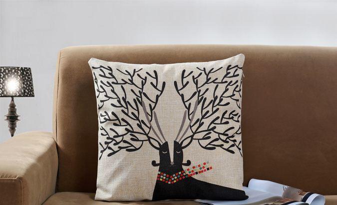 Linen Cartoon Deer Cushion Cover Printed Animal Square Decorative Sofa Car Pillow Case Modern Style BZT