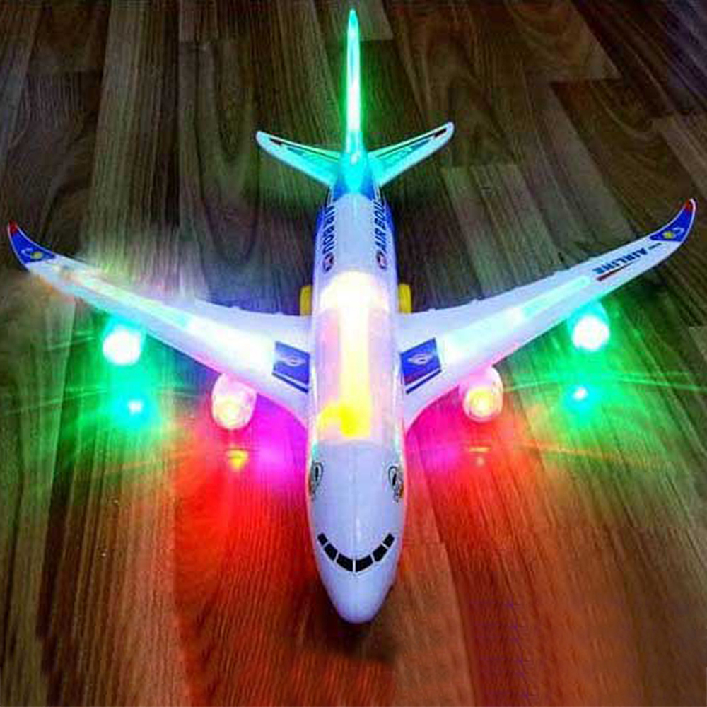 Original box ! Funny Electric Airplane Child Toys Moving Flashing Lights Sounds Kids Toy DIY Assembly Aircraft Gift A380 Airbus(China (Mainland))