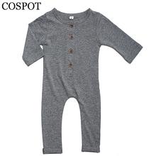 COSPOT Baby Autumn Rompers Boy Cotton Harem Jumpsuit Boy's Plain Black Gray Tank Romper Newborn Fashion Clothing 2017 New 30F(China (Mainland))
