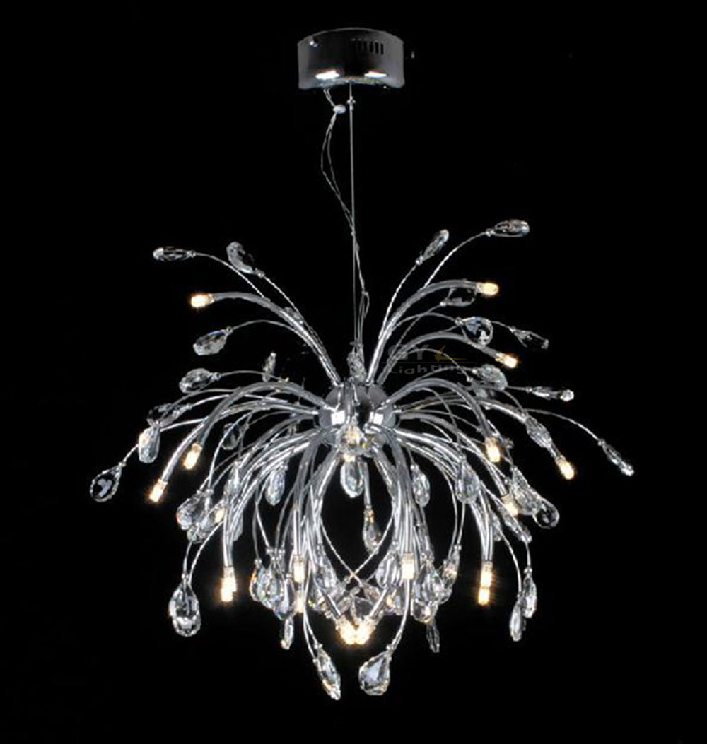 Ac110 220v led modern chrome chandelier light fixtures pendant lamps luminaria g4 led bulbs - Light fixtures chandeliers ...