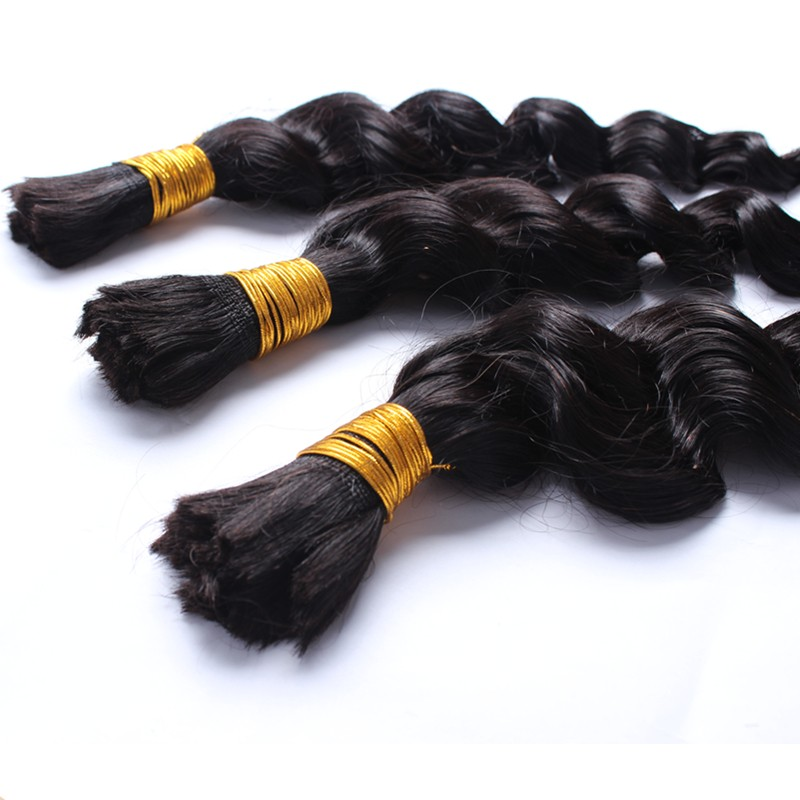 7A Peruvian Loose Wave Virgin Hair 1 Pcs Bulk Hair For Braiding Loose Curly Human Braiding Hair Bulk Natural Black Color