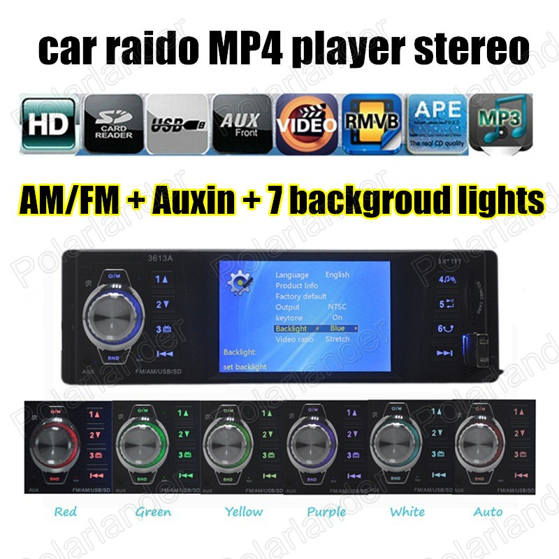 Car Radio Stereo AM FM MP4 Player Auxin with USB Port and SD Card Slot / Auto Audio remote control(China (Mainland))
