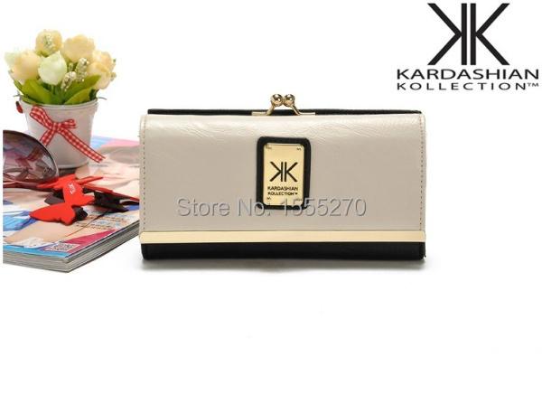 2015 new style KIM Kardhian kollection long wallet women clip card holder color block women's kk Kim kollection long hasp wallet(China (Mainland))