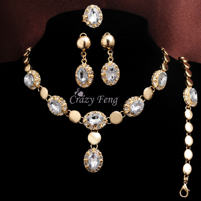 Free shipping Women's 18k Gold Filled White/Red/Champagne Austrian Crystal Necklace Bracelet Earrings Ring Jewelry Sets Gifts(China (Mainland))