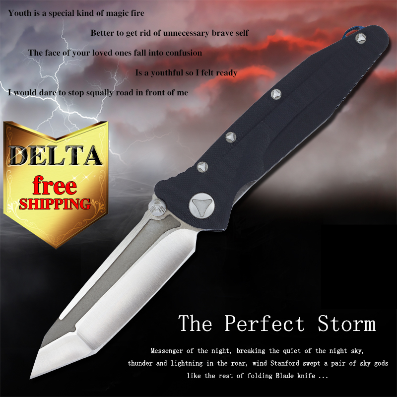 Microtech Delta D2 TC4 titanium tools folding knife Camping tactical military outdoor tools rescue adventure knife G10 Handle(China (Mainland))