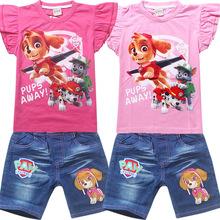 2016 Girls clothes Set Puppy Dogs Kids clothes set T Shirts + short sleeve Tshirts kids sport suit children clothing set