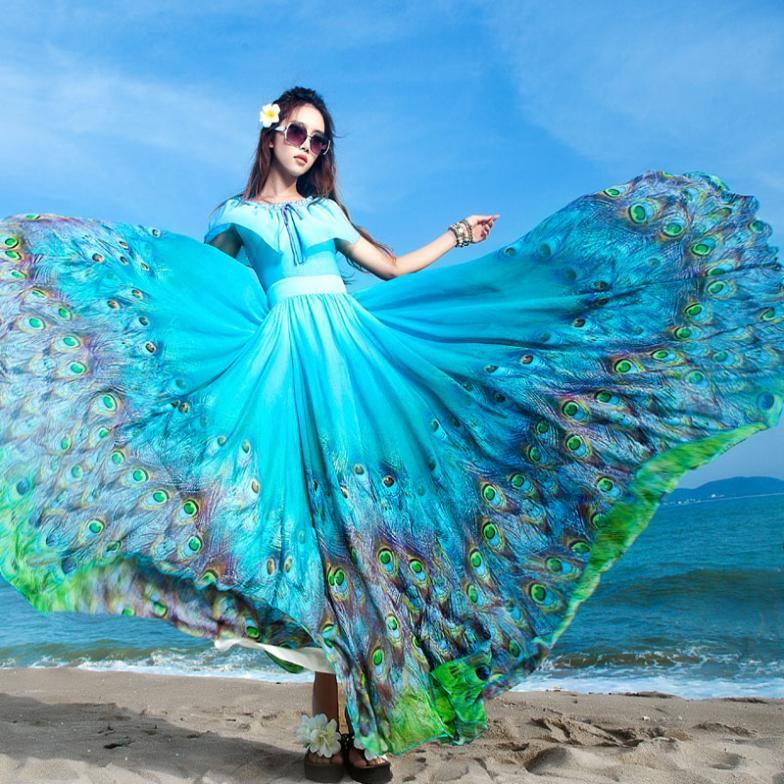 2014 fashion Women's blue Peacock print Hawaiian Long Beach Dress Summer full length dress plus size maxi long holiday dress(China (Mainland))