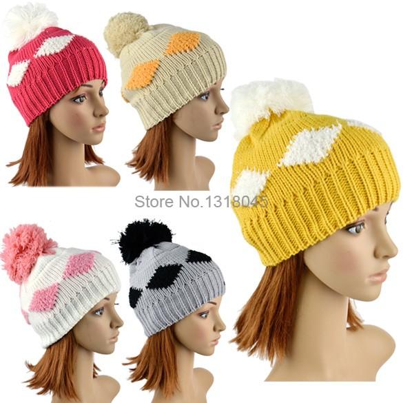 Women's Diamond Grid Pattern Beanie Crochet Winter Knitted Hat Large Ball Cap Skullies 9534#(China (Mainland))