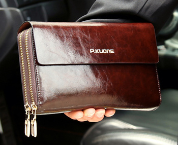 2015New fashion Luxury Shining Oil Wax Cowhide Men Clutch Bag Long Genuine Leather men wallets Double Layer Business Clutch bags