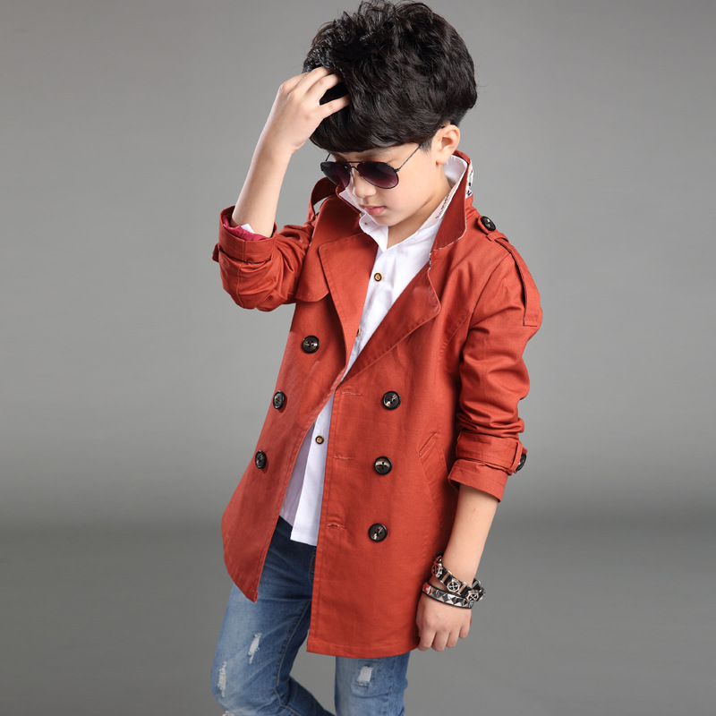 New Brand Children's Trench Coat For Boys Spring Autumn 2017 Cotton Full-sleeves Outwear Coats Fashion Long Kids Clothes Jacket