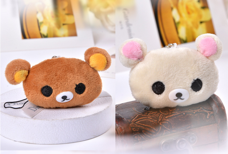 Kawaii Mini 4*3CM SAN-X Rilakkuma Bear little Plush TOY - Rope Pendant Decor Kid's TOY Key Chain DOLL Stuffed TOY Bouquet DOLL(China (Mainland))