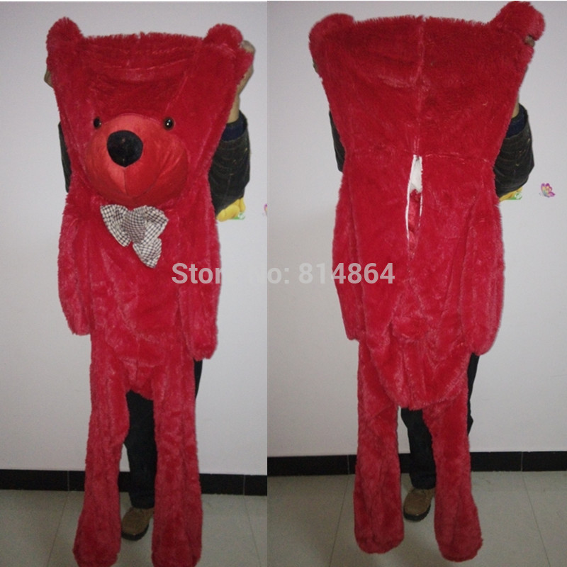 2016 Plush toys 160cm teddy bear empty shell coat bear skins Red teddy bear with zipper Christmas Valentine's Day birthday Gifts(China (Mainland))