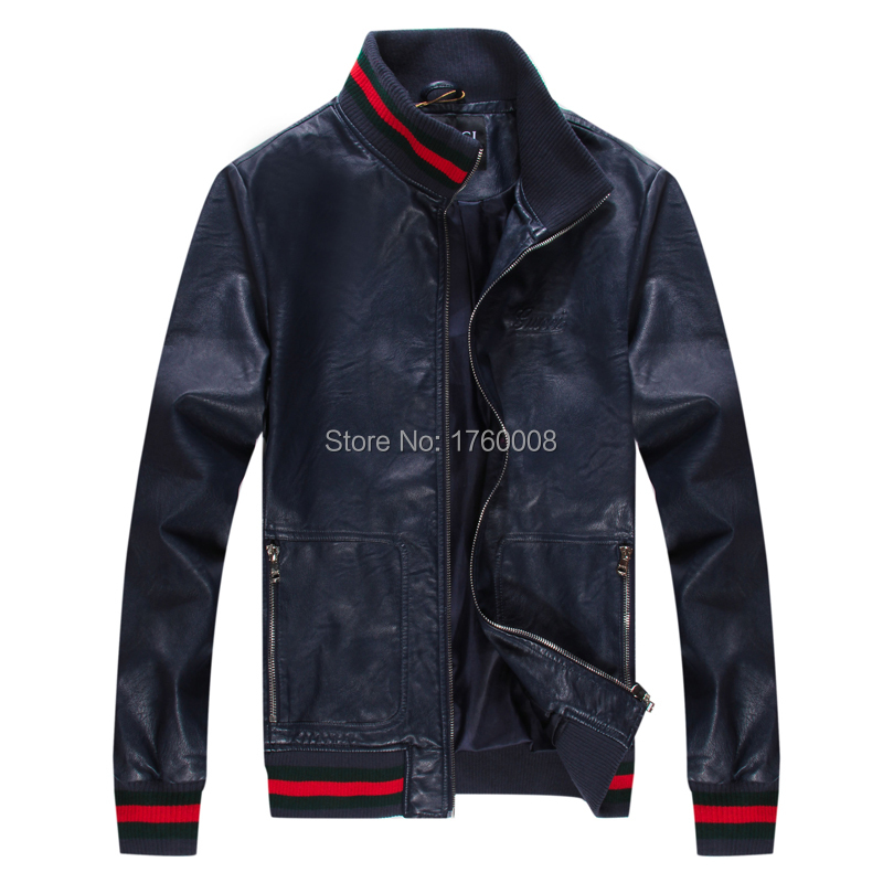 2015 New Men's Suit PU Leather Jacket Man Products Mens Fashion Transverse Slim Jackets Men 2 Color Plus Size M-XXL - The freezing point of casual clothing store