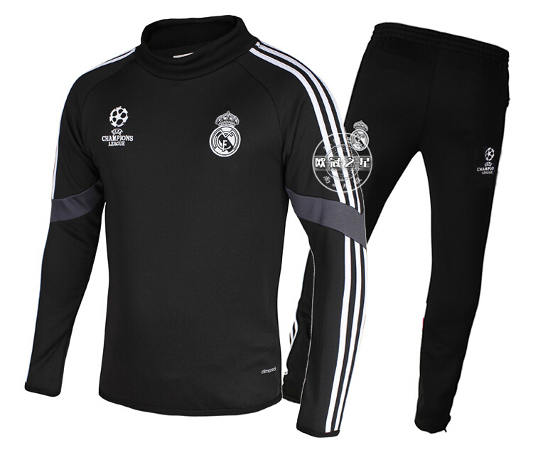 New autumn&winter 2014/15 season champions Real Madrid football training UEFA Champions League long sleeved shirt&pant suit kit(China (Mainland))