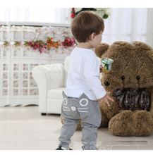 2015 New Hot Sale Baby clothing cute cat design print harem pants kids girls boys casual pants for children trousers loose(China (Mainland))