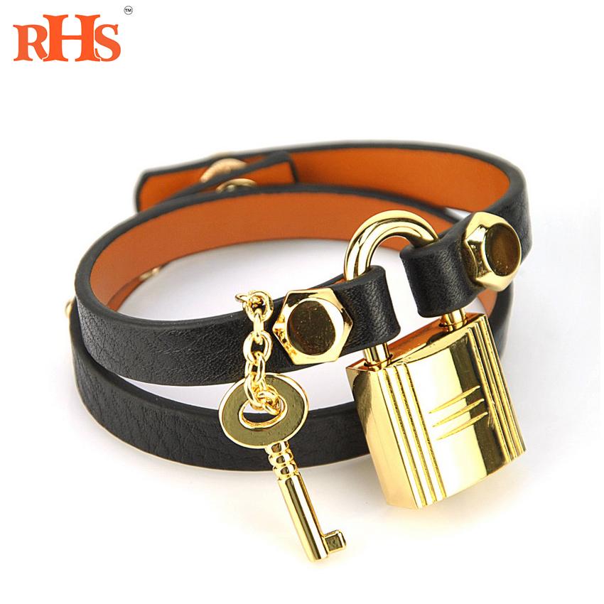 Womens Genuine Real Leather Lock Key Bracelet Designer Brand H Bangle Fashion Lady Jewelry Accessory Wrap Cuff Wristband Snap(China (Mainland))