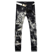 Men's fashion wolf print stretch denim jeans Slim black painted straight pants Long trousers(China (Mainland))