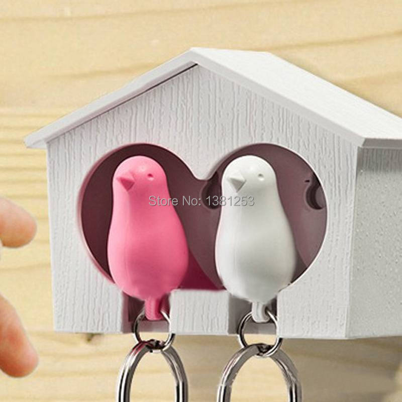 1Set Free Shipping Lover Sparrow Birdhouse Keychain Home Wall Hook Bird Nest Holder Key Ring Gift a99Pb(China (Mainland))