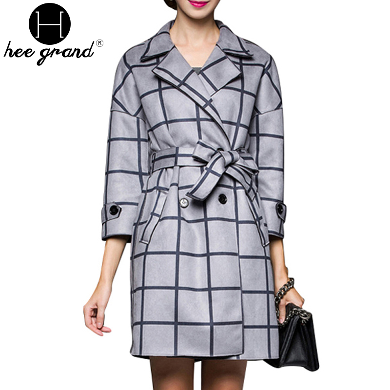 2 Colors Plaid Women Coat Autumn&Winter New Turn-down Collar Abrigos Mujer Three Quarter Sleeve Belt Manteau Femme WWF521