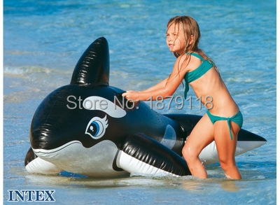 Inflatable Ride-On Float Whale Giant Black Whale 193cm*119cm Inflatable Swim Ring pool Swim Ring Holiday Water Fun Toy for kids