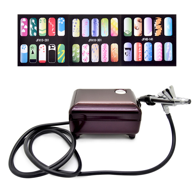 Professional Nail Airbrush Kit with Compressor Portable 3 Speeds Adjustable Tattoo Airbrush for Makeup with Nail Stencils(China (Mainland))