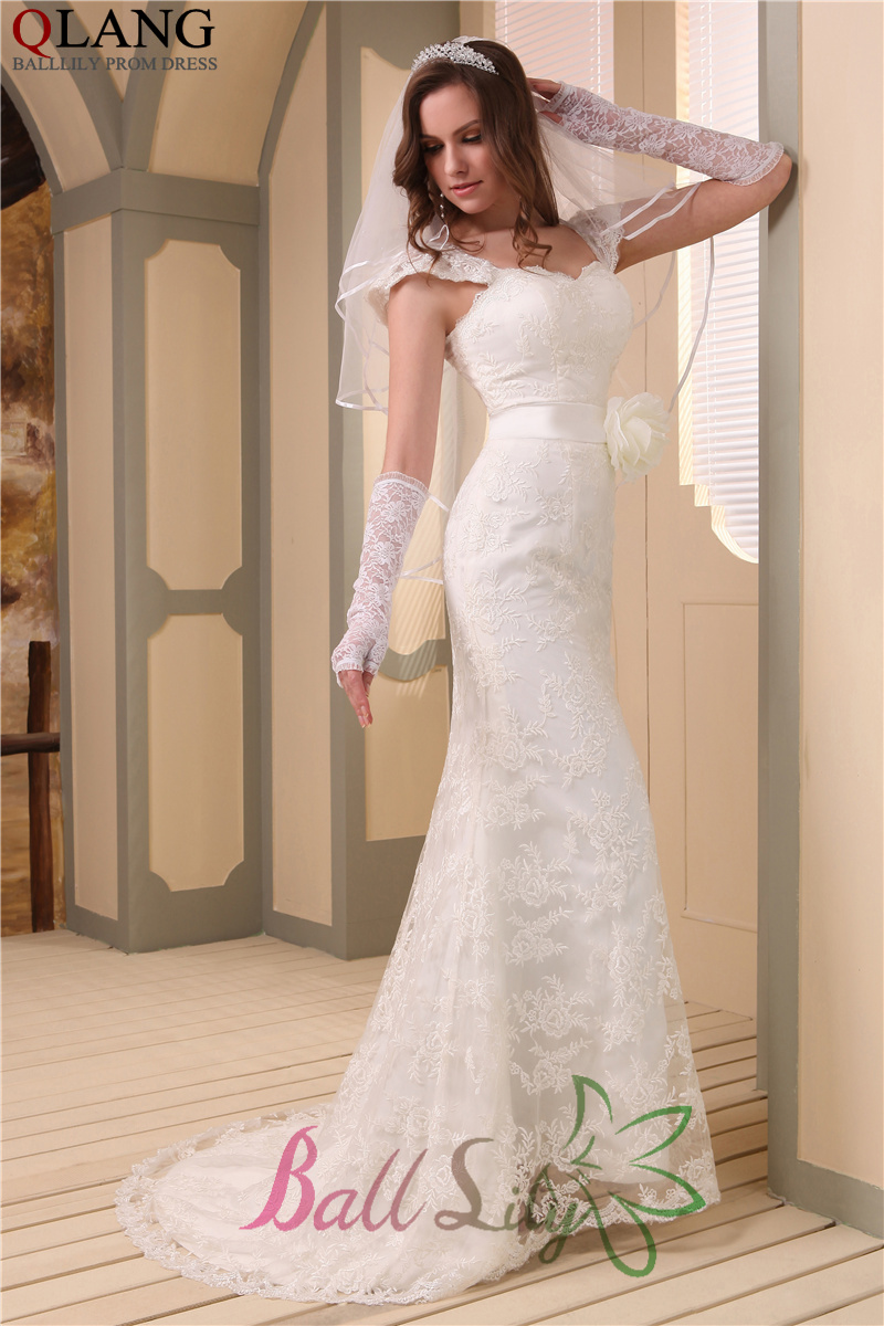 Mermaid Wedding Dress Gloves: Elegant sleeveless beaded v back ...