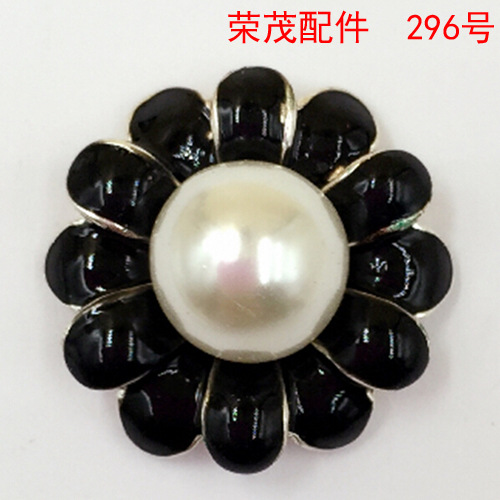 21*21MM DIY mobile phone beauty alloy black oil Flower charms Hair Accessories metal pendants wholesale spot cute jewelry making(China (Mainland))